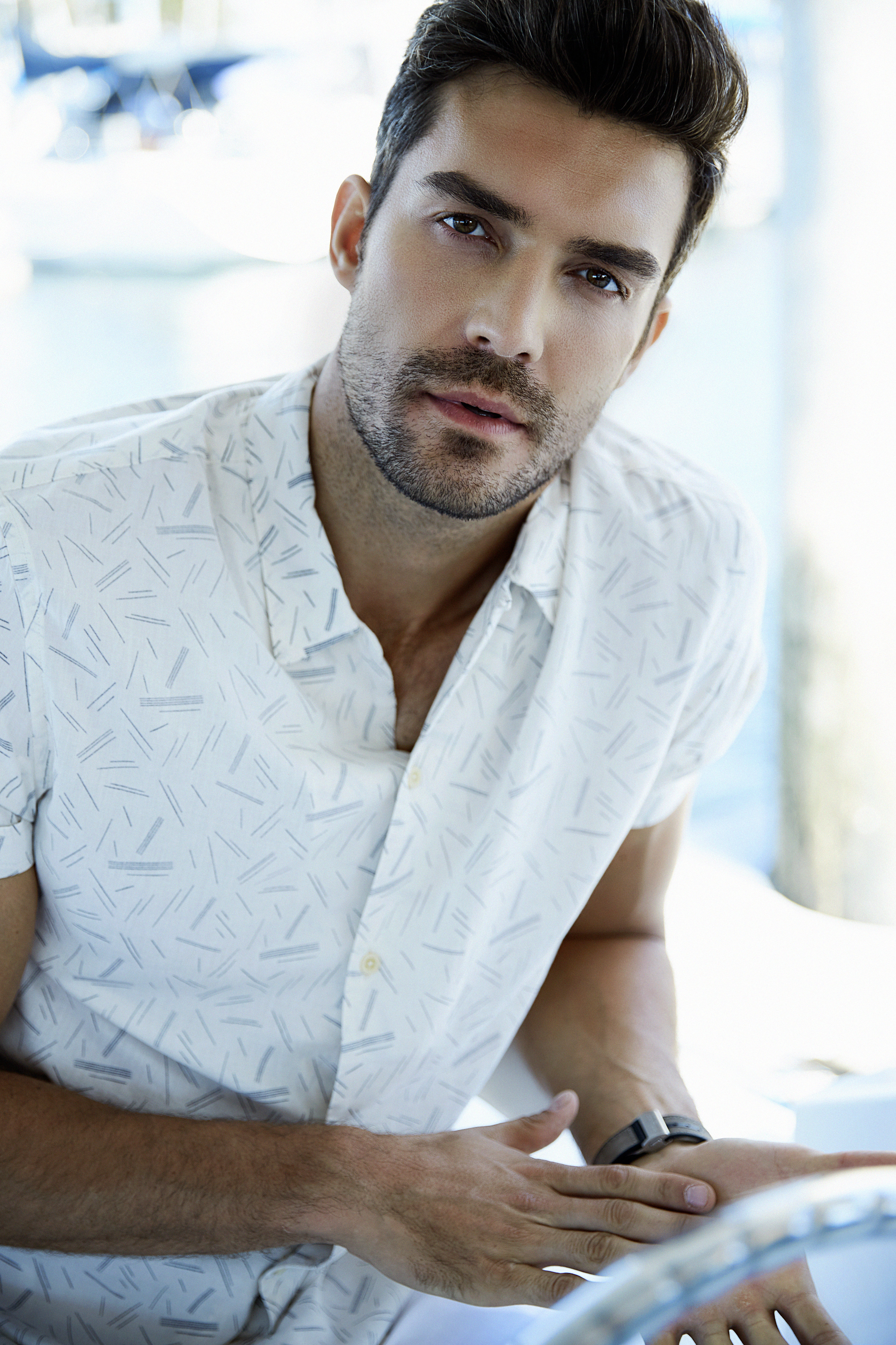 White Printed Button Down T-Shirt: ALLSAINTS; Watch: Ferragamo