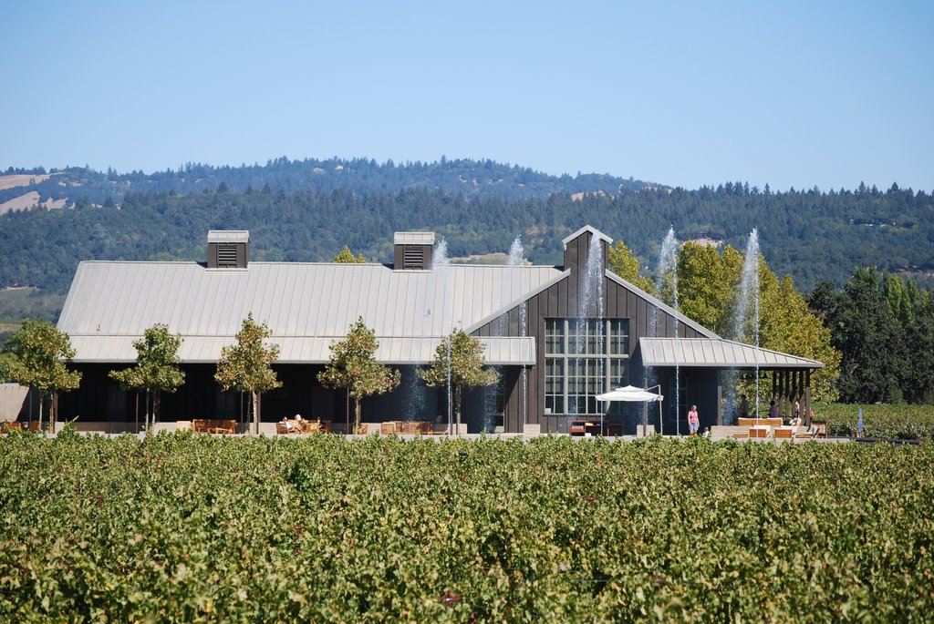 An exterior shot of Alpha Omega Winery.