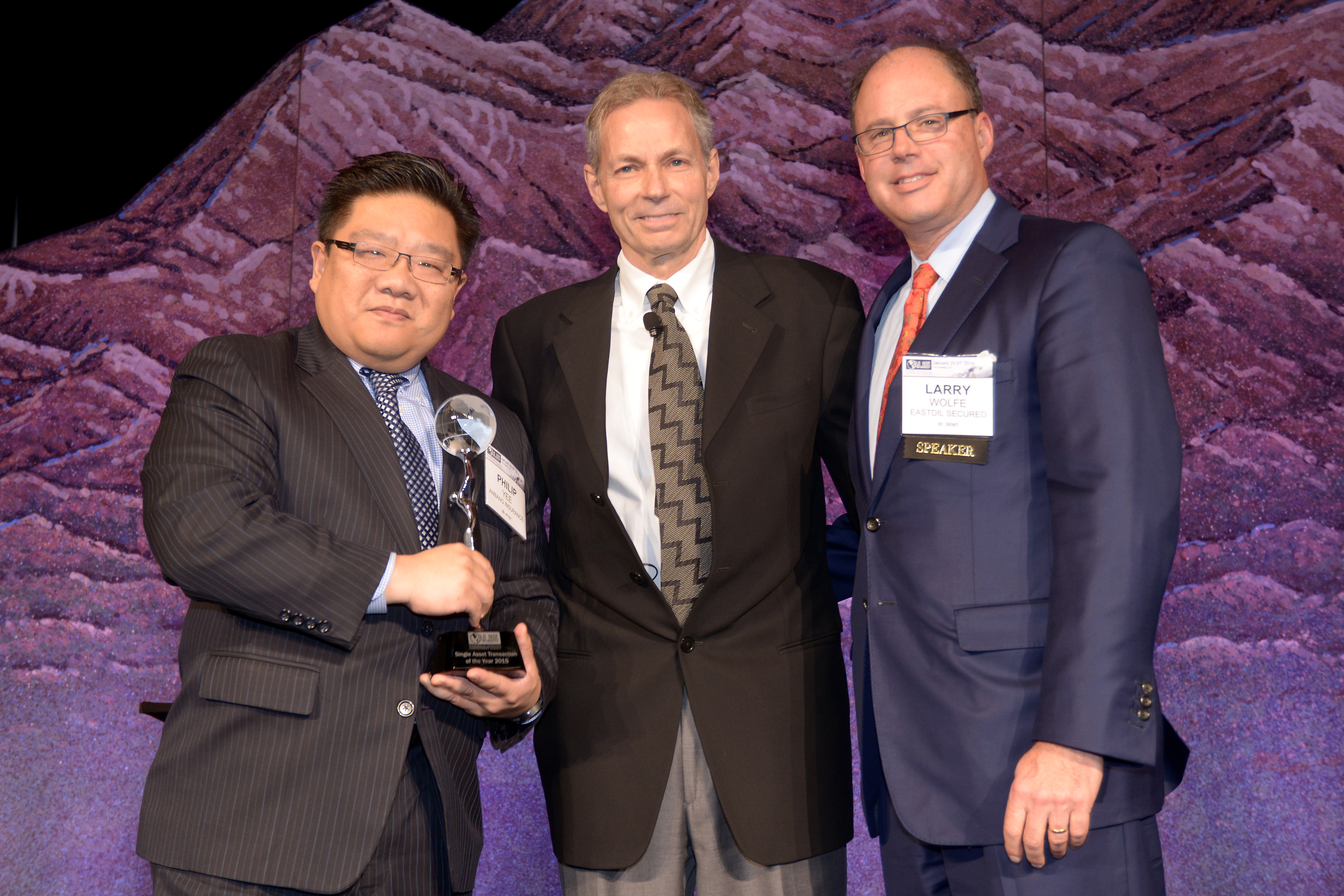 Pictured left to right are Philip Yee, Managing Director, Anbang Insurance Group; John R. Karver, SVP, CBRE Hotels; and Lawrence B. Wolfe, Senior Managing Director, Eastdil Secured
