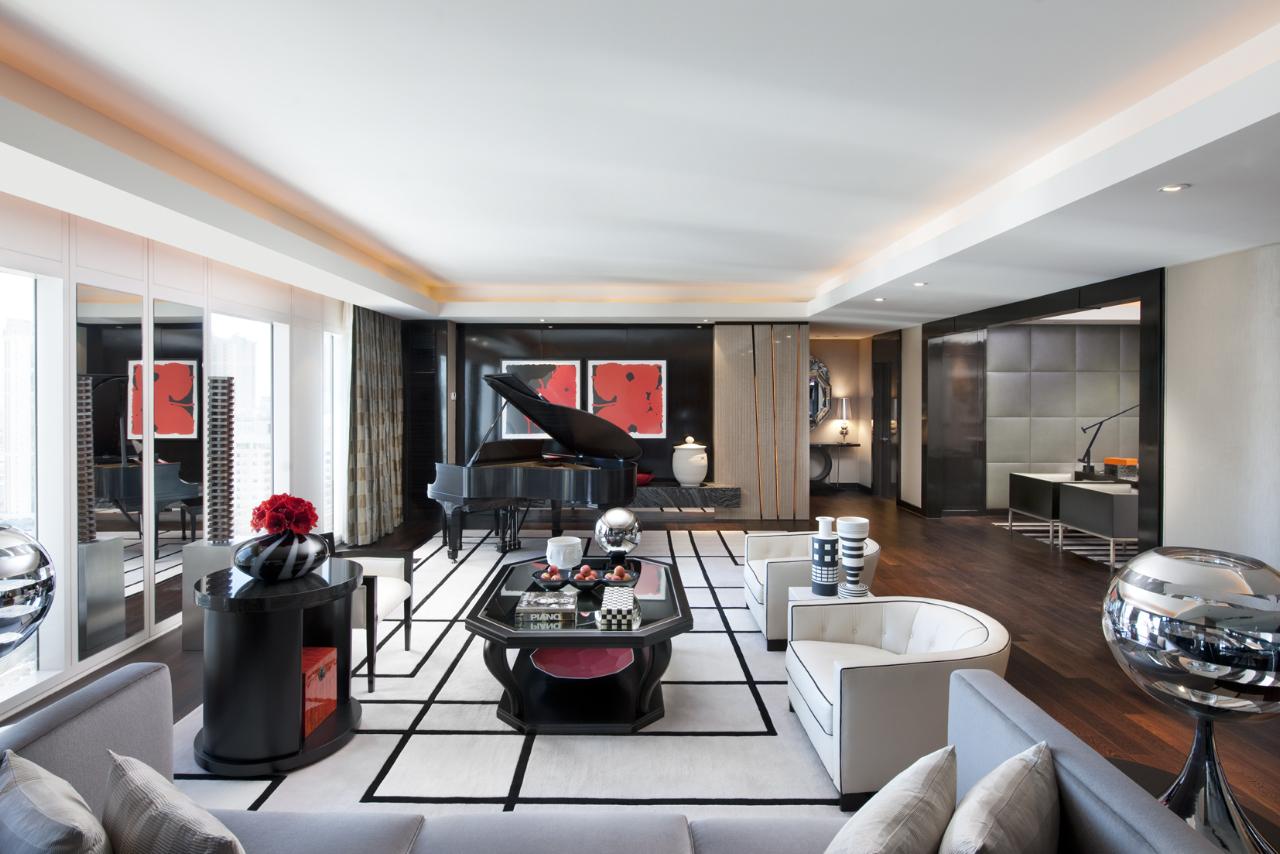 Living Room, Emperor Suite. Steinway Baby Grand Piano In Corner