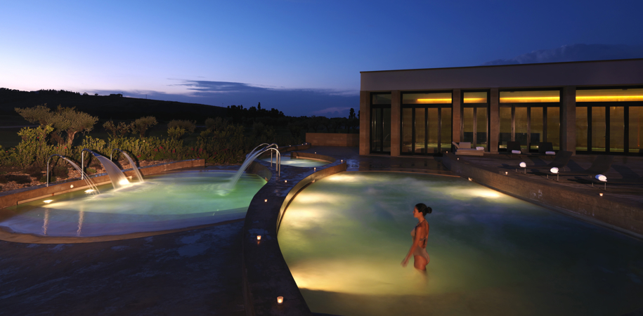 Move_Mountains_Luxury_Holidays_Sicily_Italy_Rocco_Forte_Verdura_Golf_and_Spa_Resort_Thalassotherapy_pools_night - rocco forte sicily