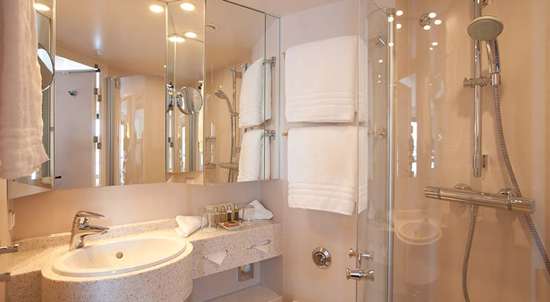 The bathroom you'll want to install at home. Image courtesy Viking River Cruises.