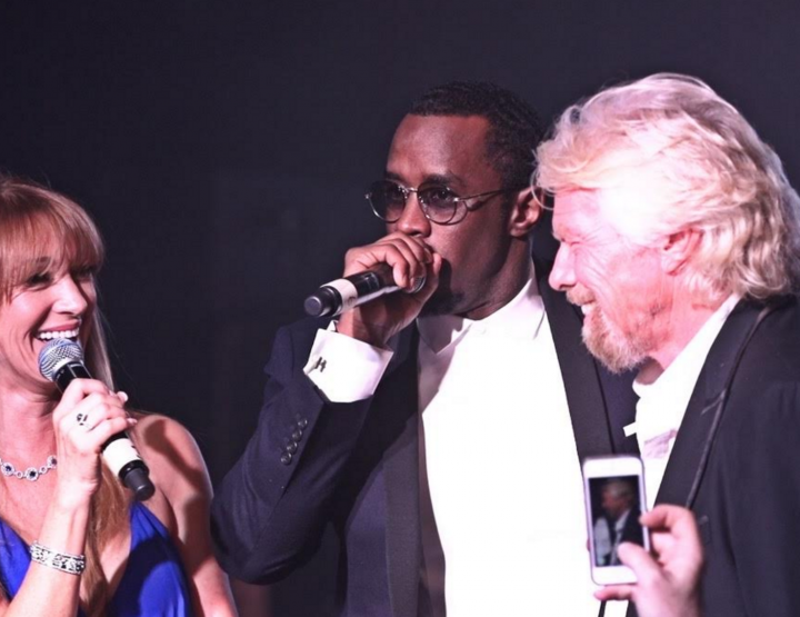 RICHARD BRANSON & DIDDY HOST A GRAMMY BASH AT THE PLAYBOY MANSION.