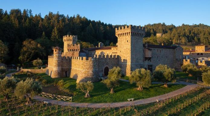 No, it's not Tuscany - it's Napa! Castello di Amorosa outside view.